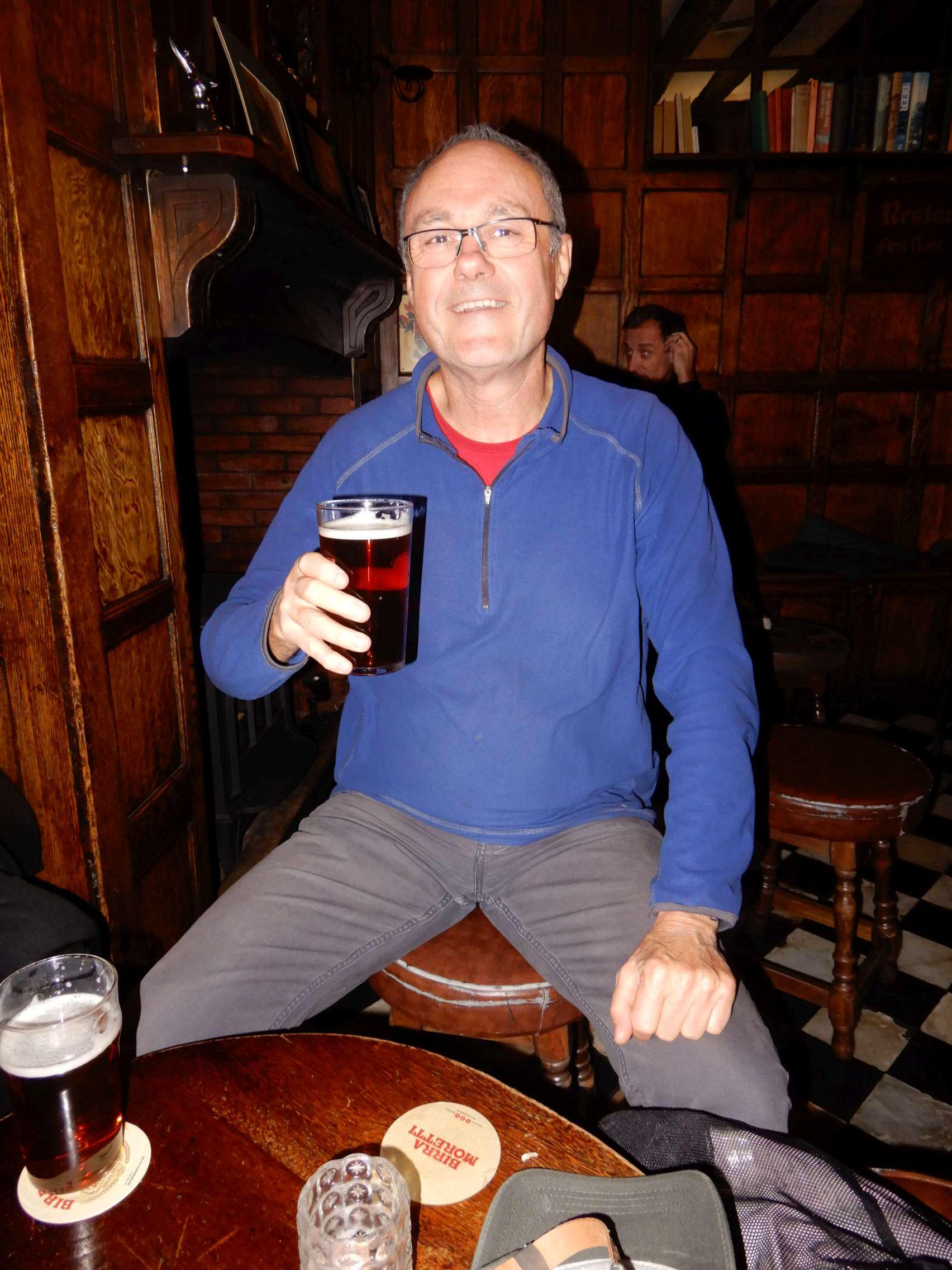 Roger, enjoying his pint